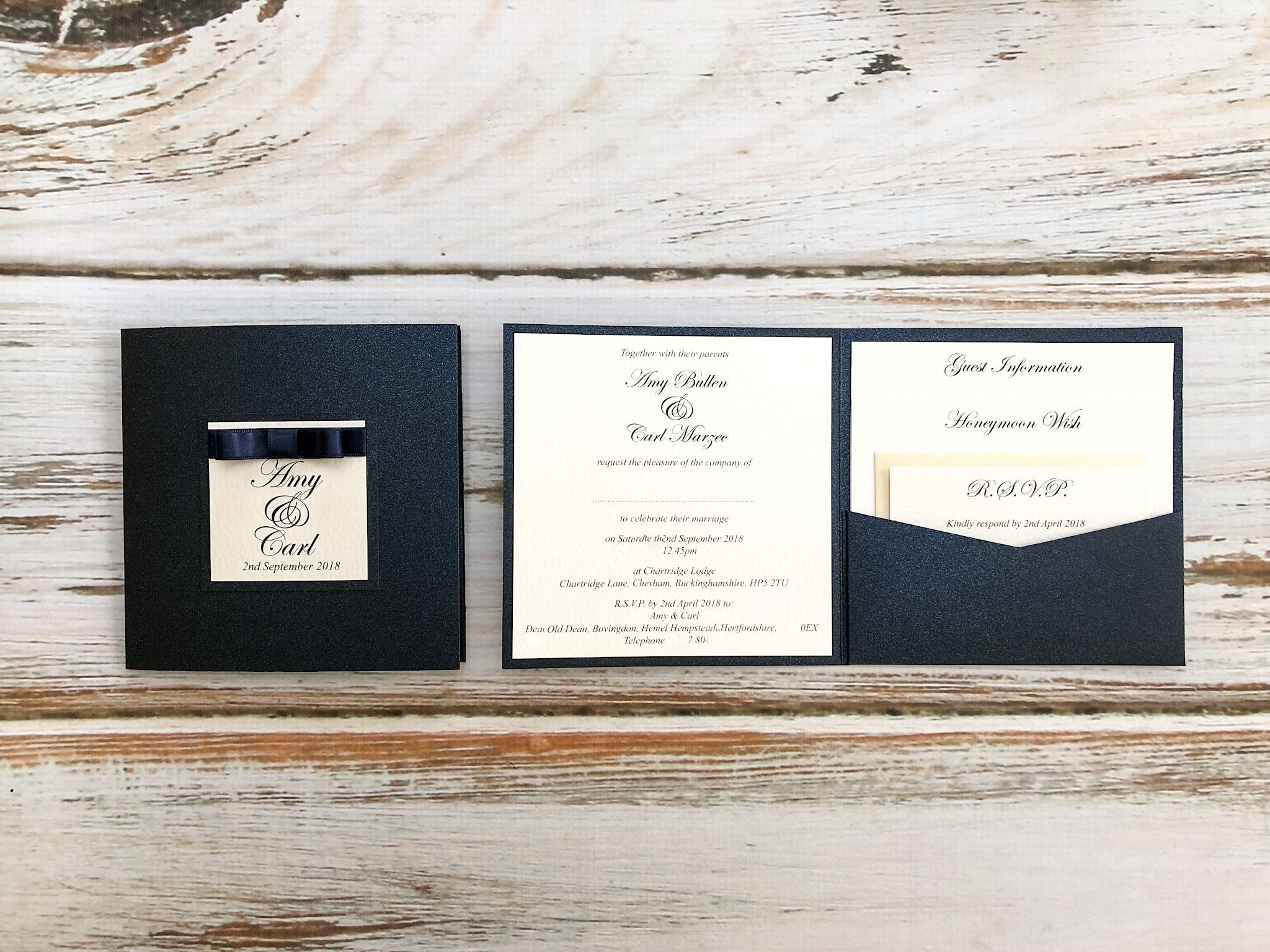 Navy Dior bow pocket invitation from Sew-Unique wedding stationery ...