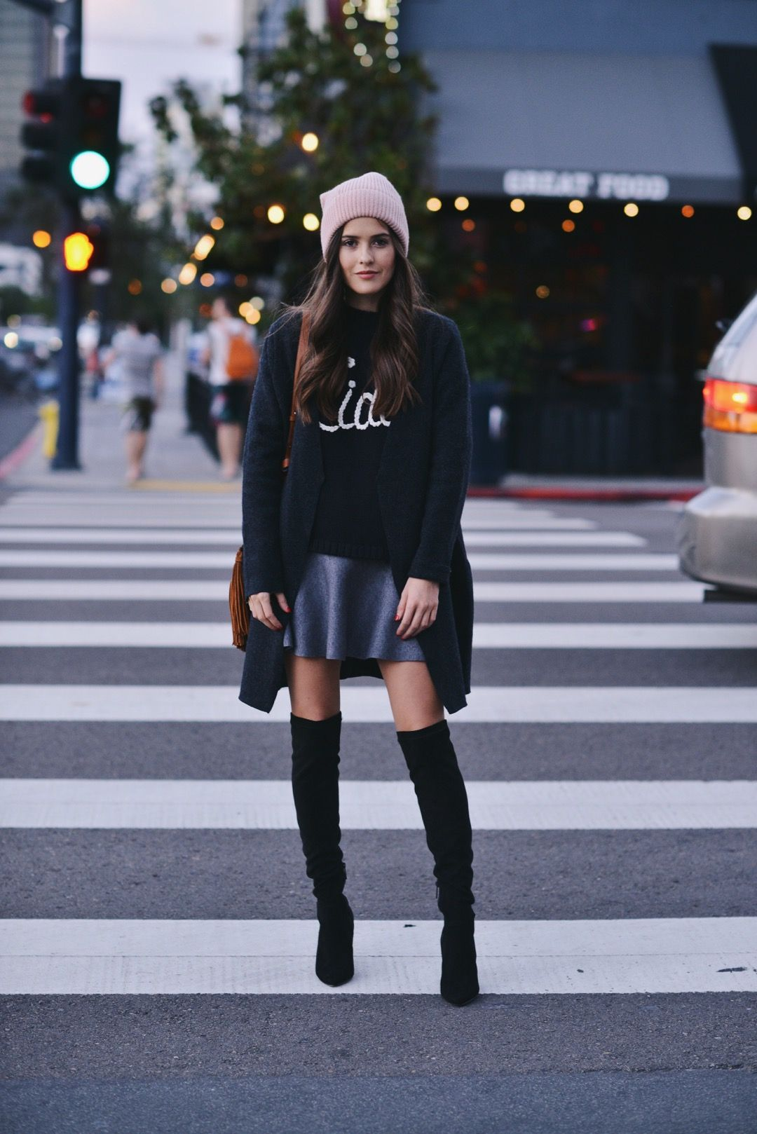 We+love+this+stylish+winter+jumper+and+A+line+skirt+combination.+Over+the+knee+boots+make+the+perfect+finish+to+this+casual+look.+Via+Paola+Alberdi.+Sweater:+Ciao+Bella,+Skirt:+Zara,+Boots:Nordstrom,+Coat:+COS.