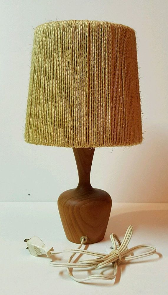 Mid Century Lamp Shades Entrancing Midcentury Table Lamp In Solid Teak With Sisal Lamp Shade  Misc Inspiration Design
