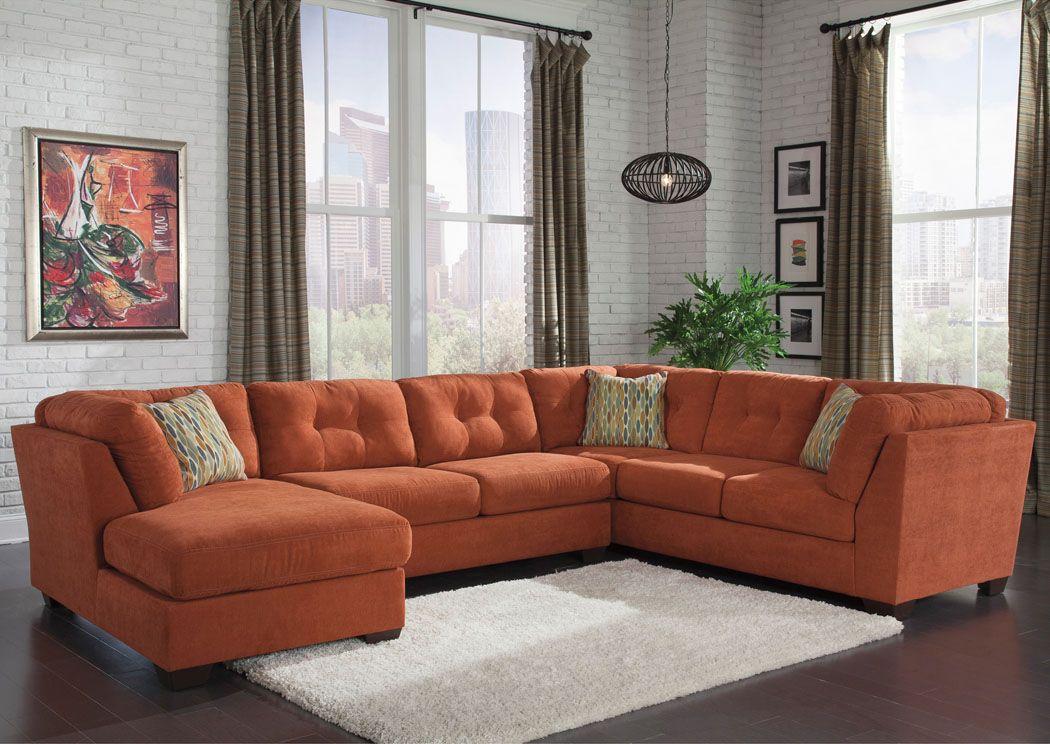 Yuma Furniture   Yuma, AZ Delta City Rust Left Arm Facing Corner Chaise  Sectional
