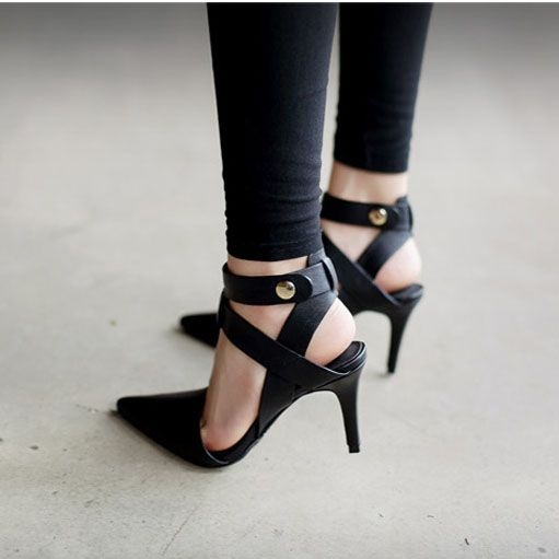 In Stock Brilliant PU Upper Point Toe Stiletto Heels Party