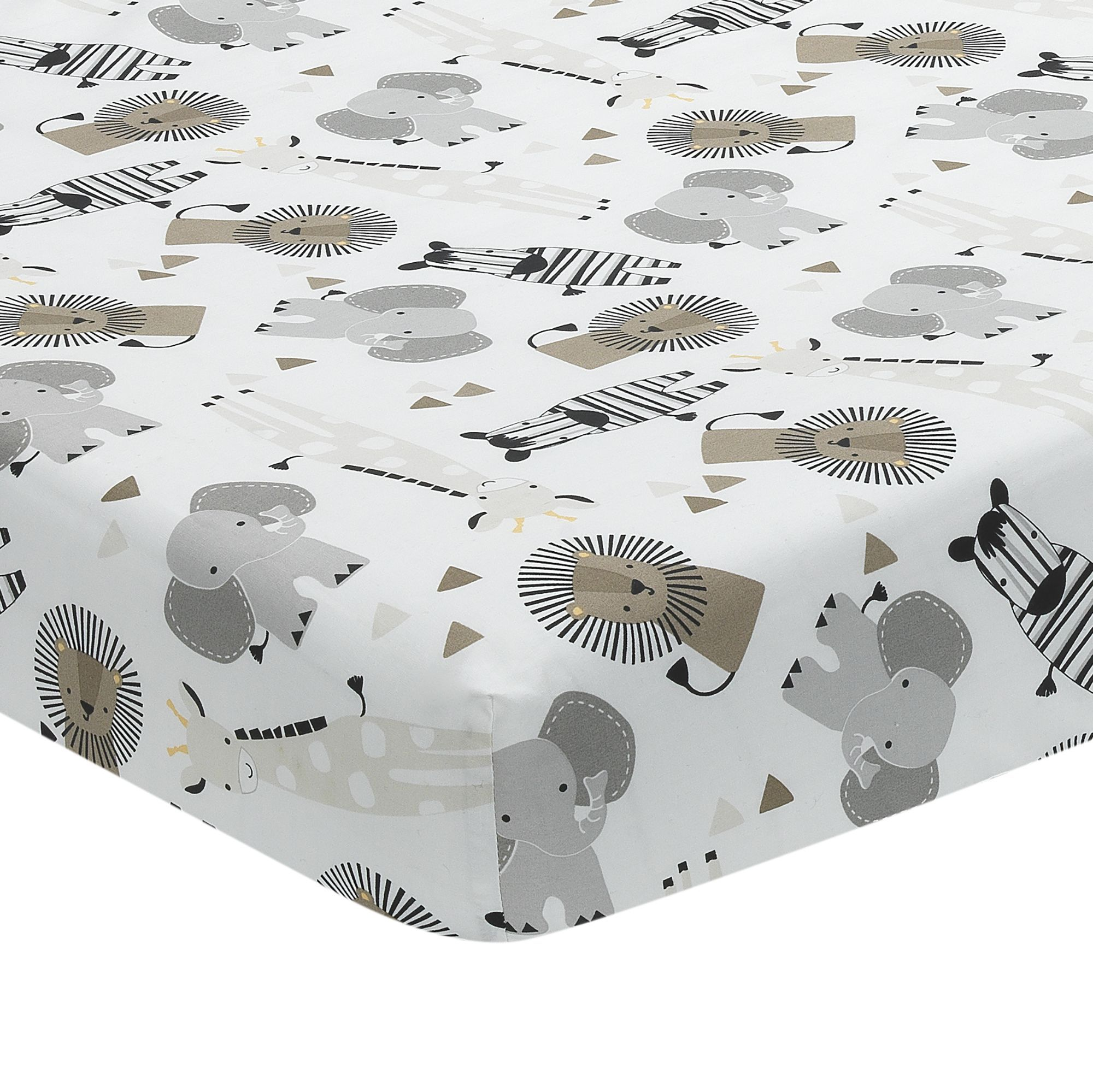 Lambs /& Ivy Jungle Safari 100/% Cotton White//Gray Elephant//Lion Fitted Crib Sheet