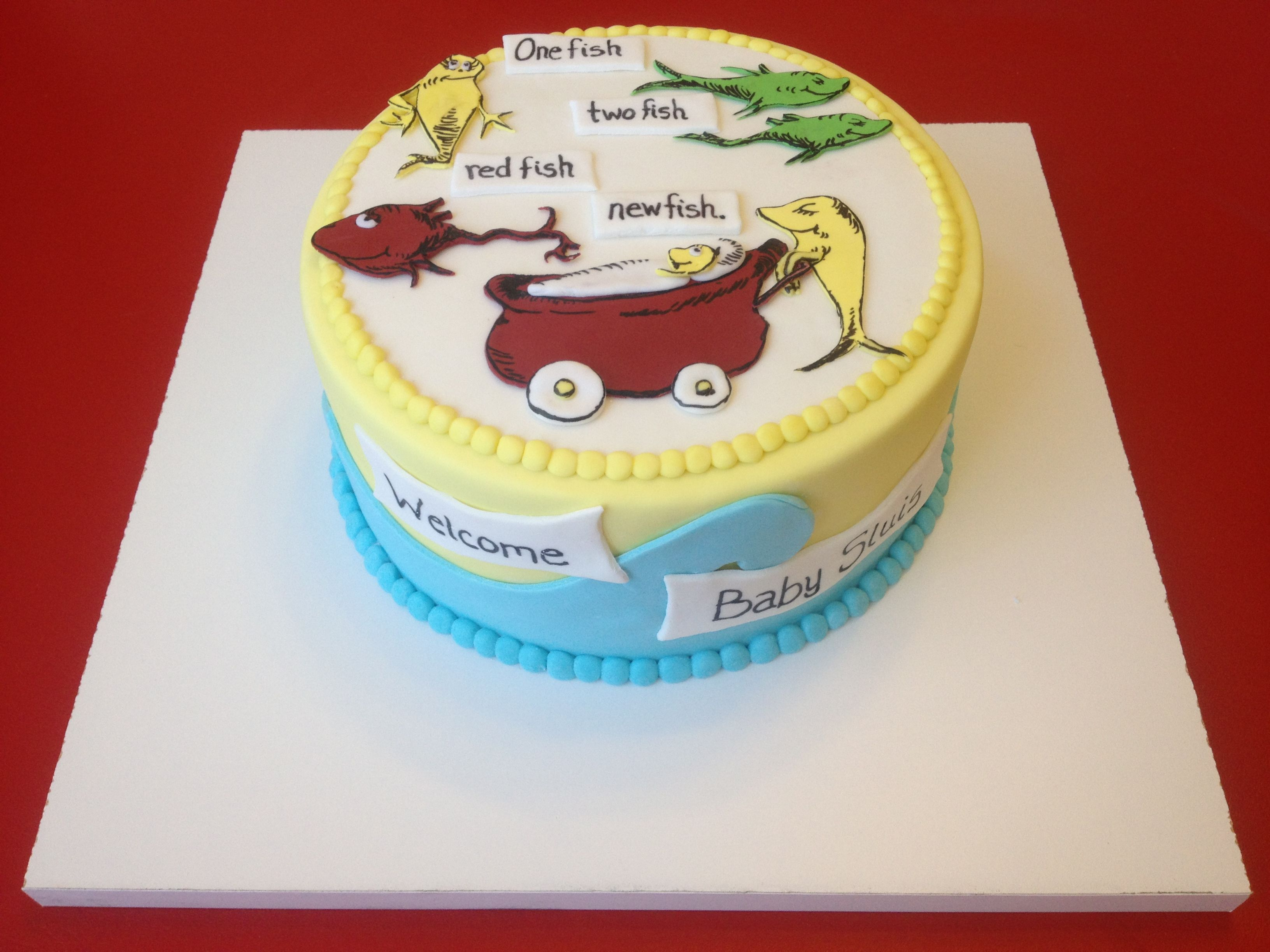 High Quality Dr. Seuss Baby Cake   All Marshmallow Fondant. Fishes And Carriage Are  Gumpaste With