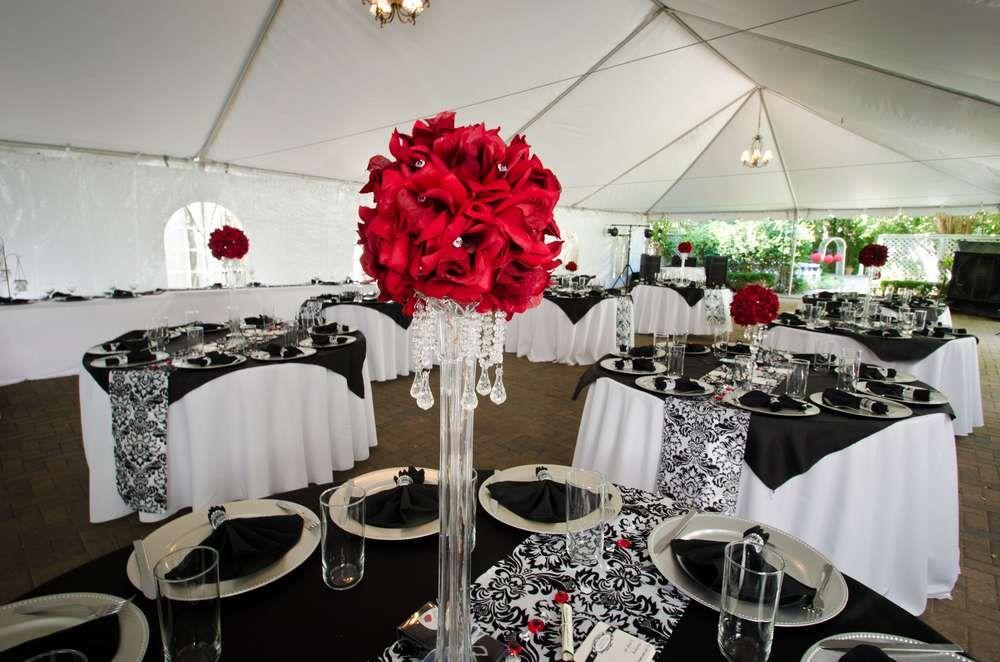 Black White Red Damask Wedding Party Ideas