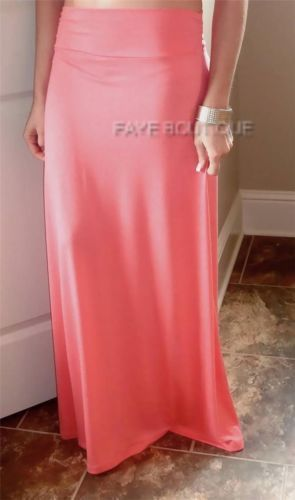 STYLE Coral Peach Long Maxi Skirt Boho Flowy To Floor Beach Free Hippie Pink S