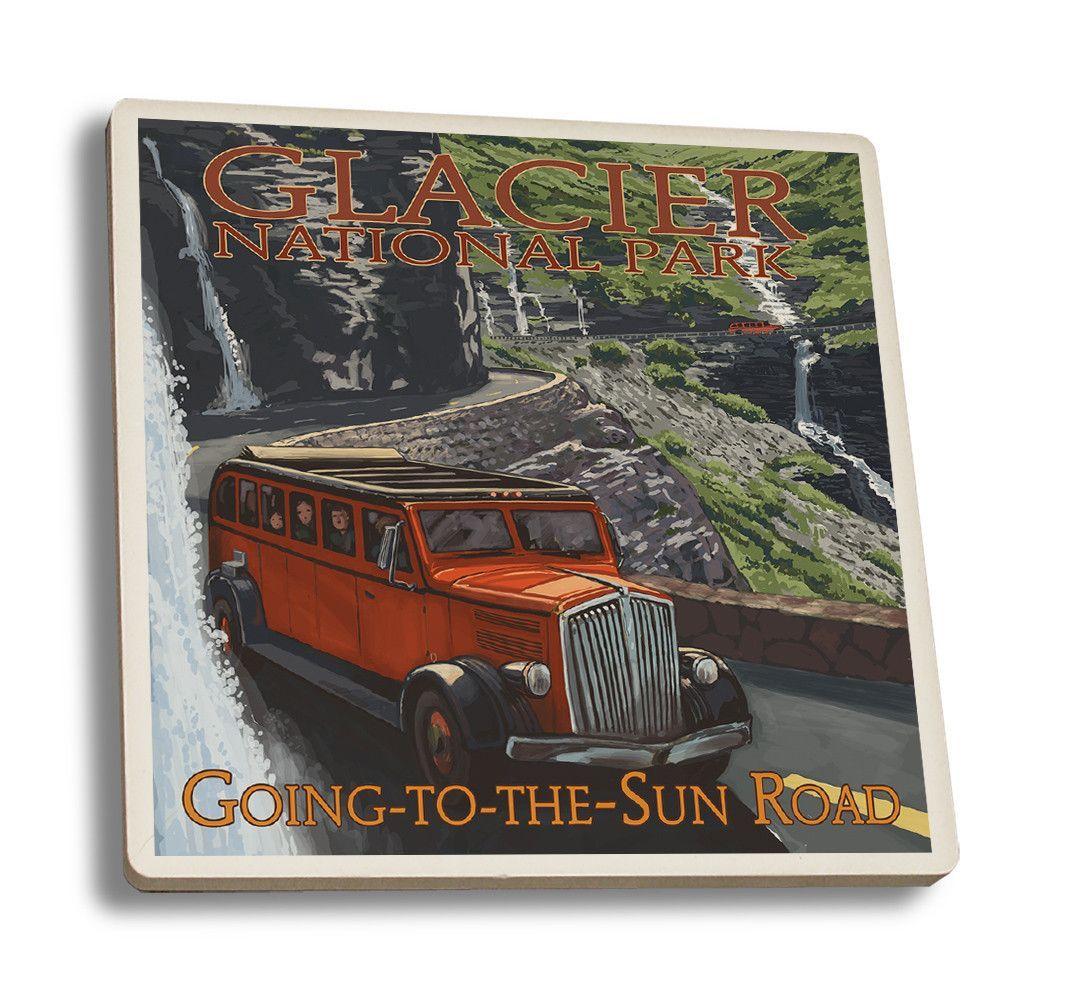 Coaster (Glacier National Park, Montana - Going-To-The-Sun Road - Lantern Press Artwork)