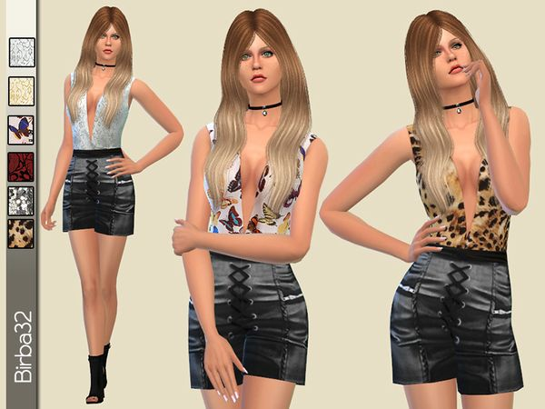 The Sims Resource: Short Leather Suit by Birba32 • Sims 4 Downloads