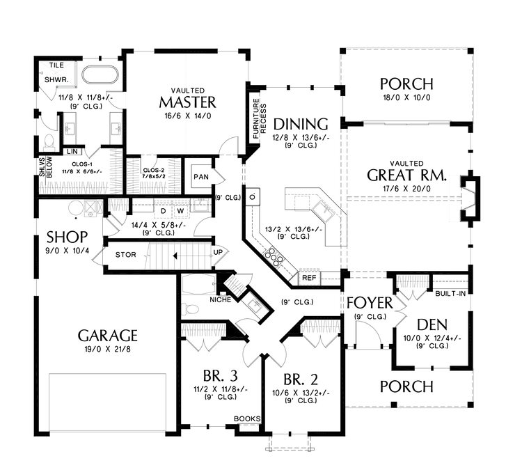 Main Floor Plan Image For Mascord Oakhaven Popular Modern Farmhouse Look Matched Wit Farmhouse Style House Farmhouse Style House Plans Contemporary House Plans