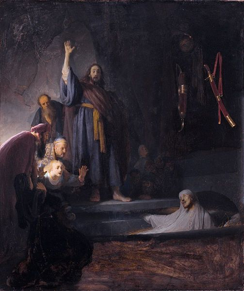 La resurrección de Lázaro. circa 1630-1632. Rembrandt