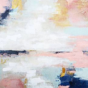 Abstract Landscape by Liz Lane using pink, navy, turquoise and gold painted on wood