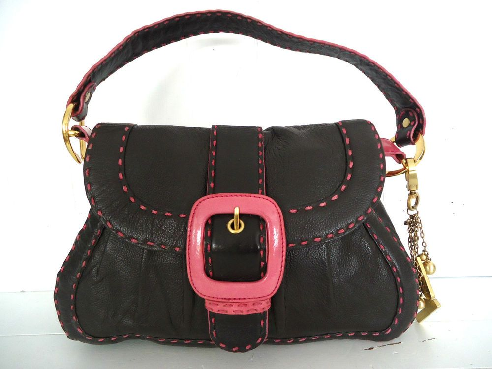 32a6a0883e BUTTERFLY by MATTHEW WILLIAMSON DARK BROWN PINK LEATHER HANDBAG SHOULDER BAG