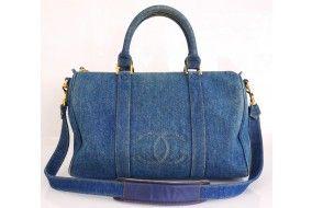 Chanel Blue Wash Denim Speedy Boston Bag, Rare