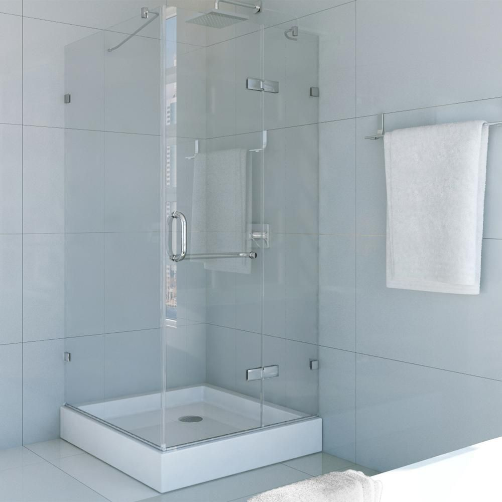 VIGO 32-Inch x 32-Inch Frameless Shower Stall in Clear with Brushed ...