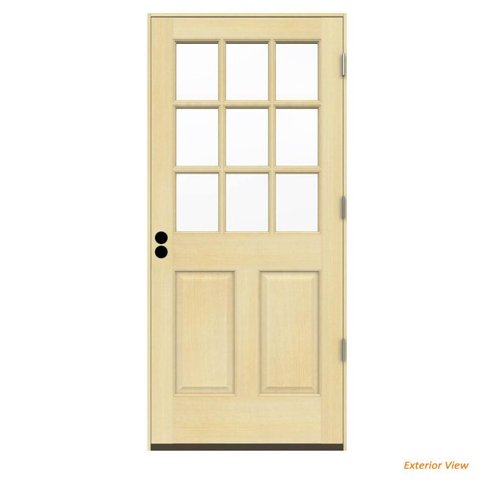 Jeld Wen 36 In X 80 In 9 Lite Unfinished Wood Prehung Left Hand Outswing Back Door W Unfinished Rot Resistant Jamb Wood Exterior Door Wood Door Frame Exterior Doors
