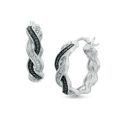 Zales Enhanced Black and White Diamond Accent Abstract Infinity Drop Earrings in Sterling Silver BG3EGwPB