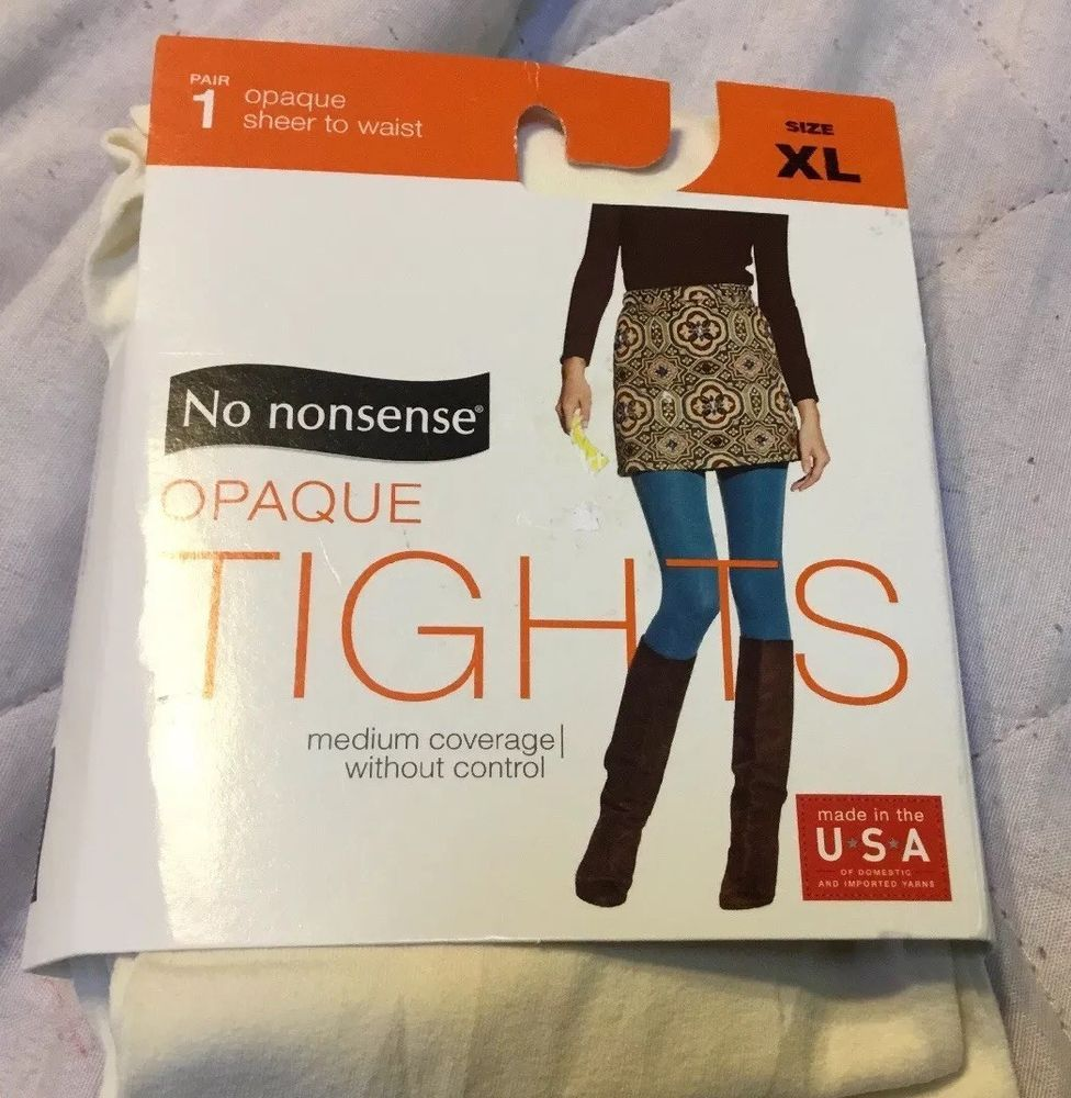 No Nonsense Opaque Tights Ivory Sheer to Waist Size XL