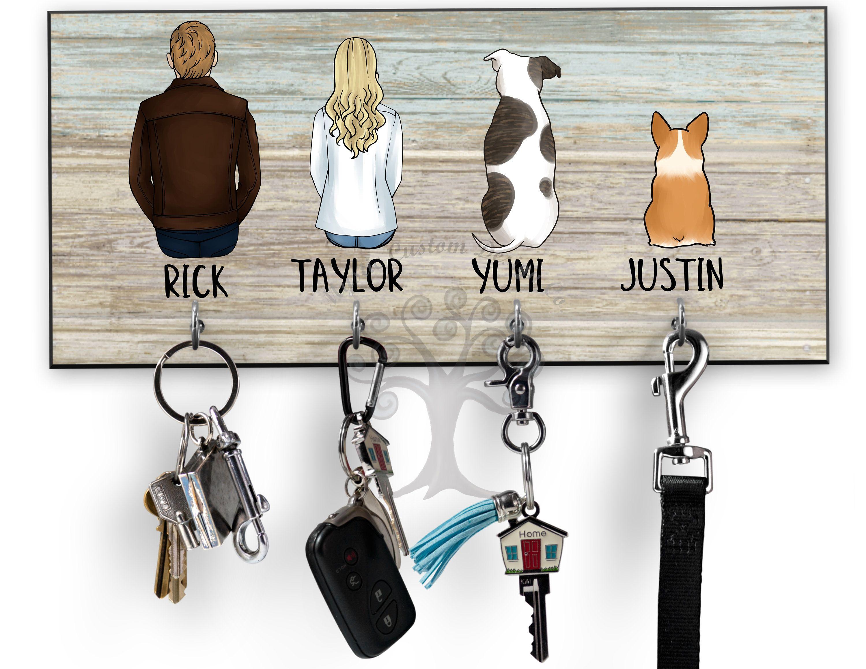 Dog Lovers Key Hanger Housewarming Gift Personalized Key Hanger Custom Wood Key Holder For Wall Family Nam House Warming Gifts Key Hanger Dog Leash Holder