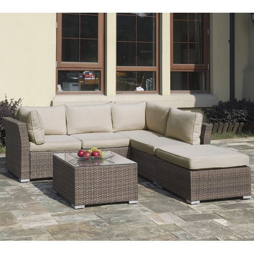 Found It At Wayfair Patio 4 Piece Sectional Seating Group With Cushions Outdoor Sectional Sofa Outdoor Sofa Sets Outdoor Sectional