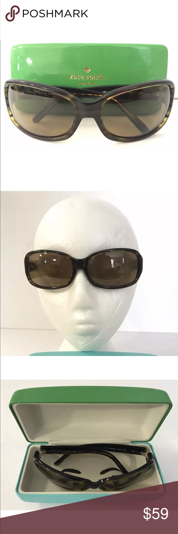 cf7b20a26ec9 Kate Spade sunglasses Vivian brown frame with case These are pre owned  sunglasses. Vivian brown