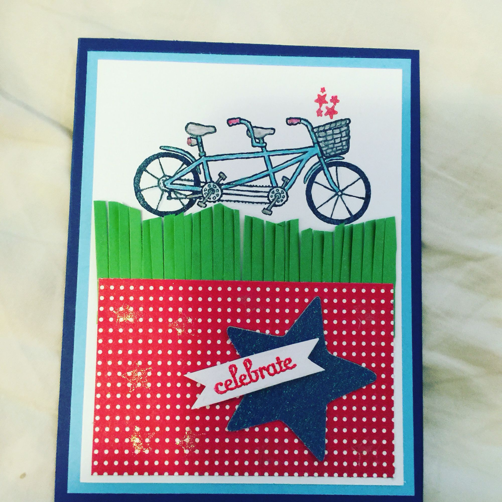 Fourth of July celebration bicycle card