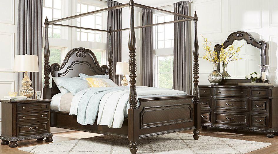 Whittington Cherry 6 Pc King Canopy Bedroom King Bedroom Sets Dark Wood Bedroom Sets Queen Canopy Bedroom Sets King Bedroom Sets