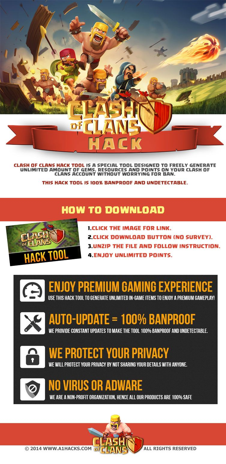 Clash of Clans Hack (No Survey) - Download Clash of Clans Hack by simply visiting the link and download the software and follow the instructions. Visit : http://www.a1hacks.com/clash-of-clans-hack-no-survey/