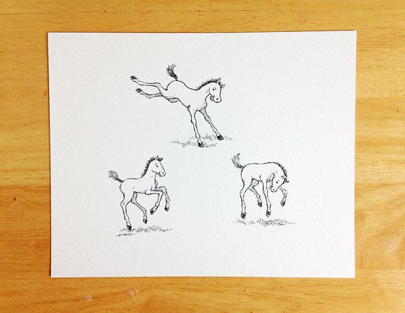 Original Pen and Ink Drawing Whimsical Equine by LaurieAConleyArt, $40.00