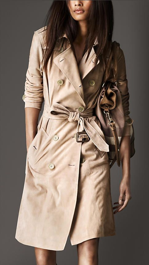 Burberry London Suede Trench Coat --- i love this - Trench Coats For Women Burberry Suede Trench Coat, Trench And