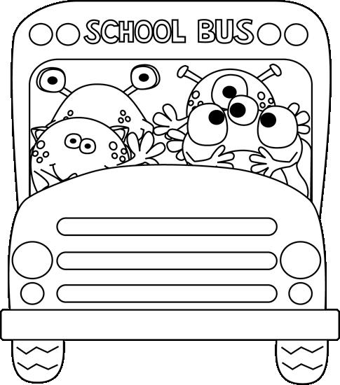 Black And White Monster School Bus Monster School Preschool