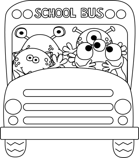 Black And White Monster School Bus Clip Art Black And White Monster School Bus Image Monster School School Bus School