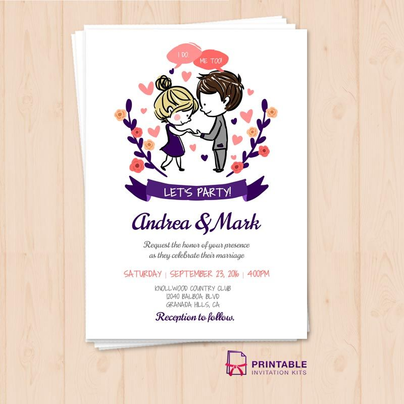 free wedding invitation psd%0A FREE PDF  I Do  Me Too Let u    s Party Wedding Invitation Template  Free to