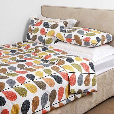 Brand New Orla Kiely 100 Combed Cotton Scribble Stem Multi Duvet Cover Set Duvet Covers King Duvet Cover Duvet Cover Sets