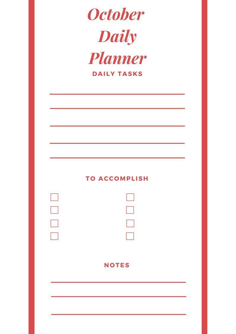 october 2018 planner printable | 2018 Calendars | Pinterest ...
