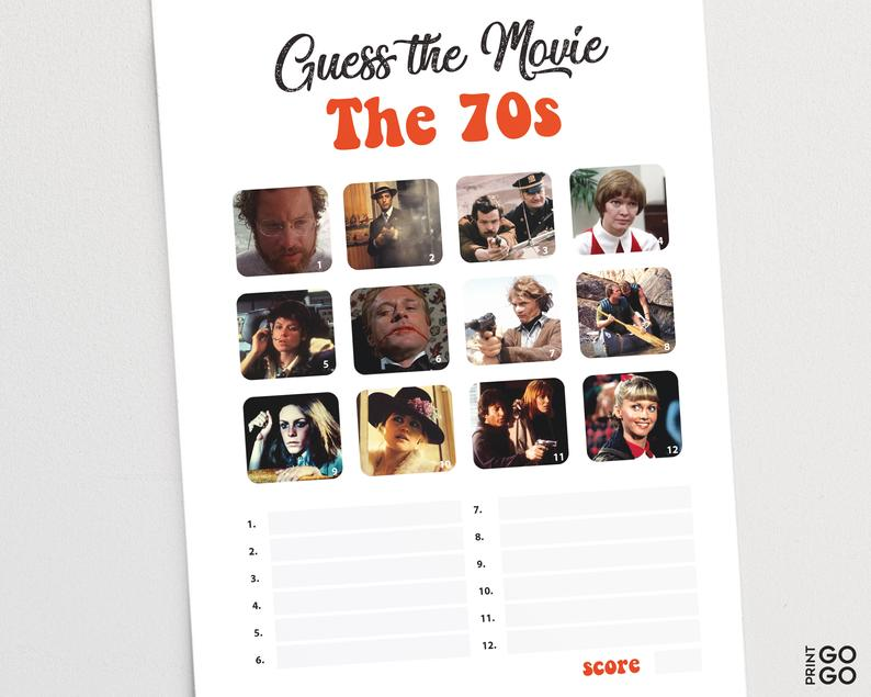 Guess The 1970s Movie Game 70s Film Quiz Seventies Pub Etsy In 2020 Movie Quiz Film Quiz Family Game Night