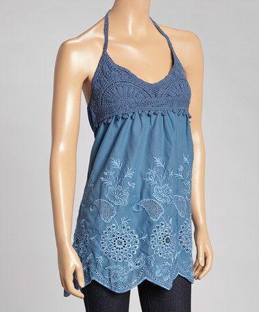 Another great find on #zulily! Blue Eyelet Trim Tank Dress #zulilyfinds