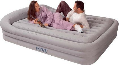 Intex Queen Size Comfort Frame Air Bed In Grey With Hand