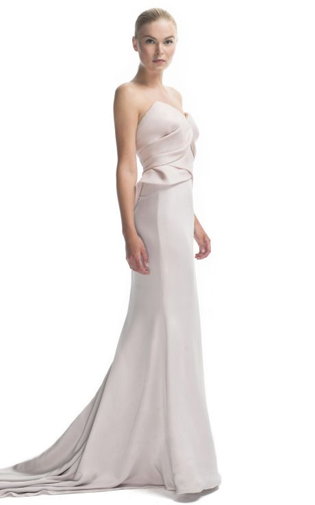 Shop Marchesa Strapless Draped Silk Gazaar Gown at Moda Operandi $3950