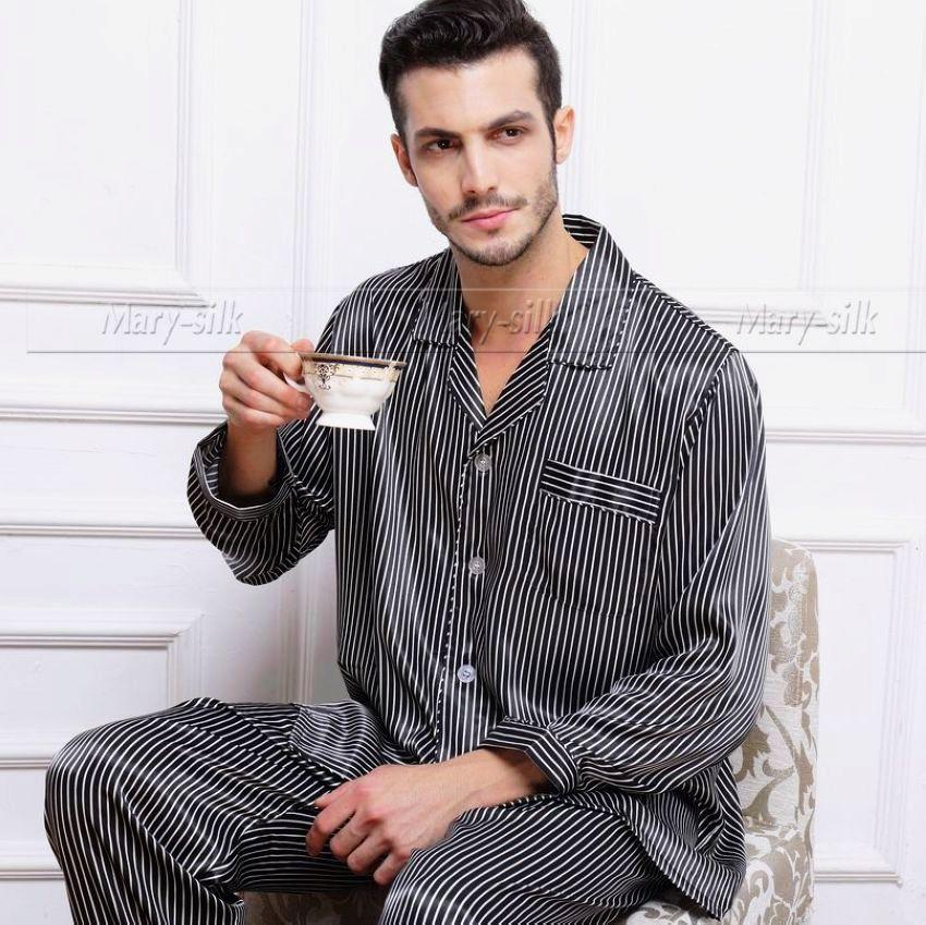 Holiday Adult Mens Silk Satin Pajamas Pajama Pyjamas PJS Sleepwear ...