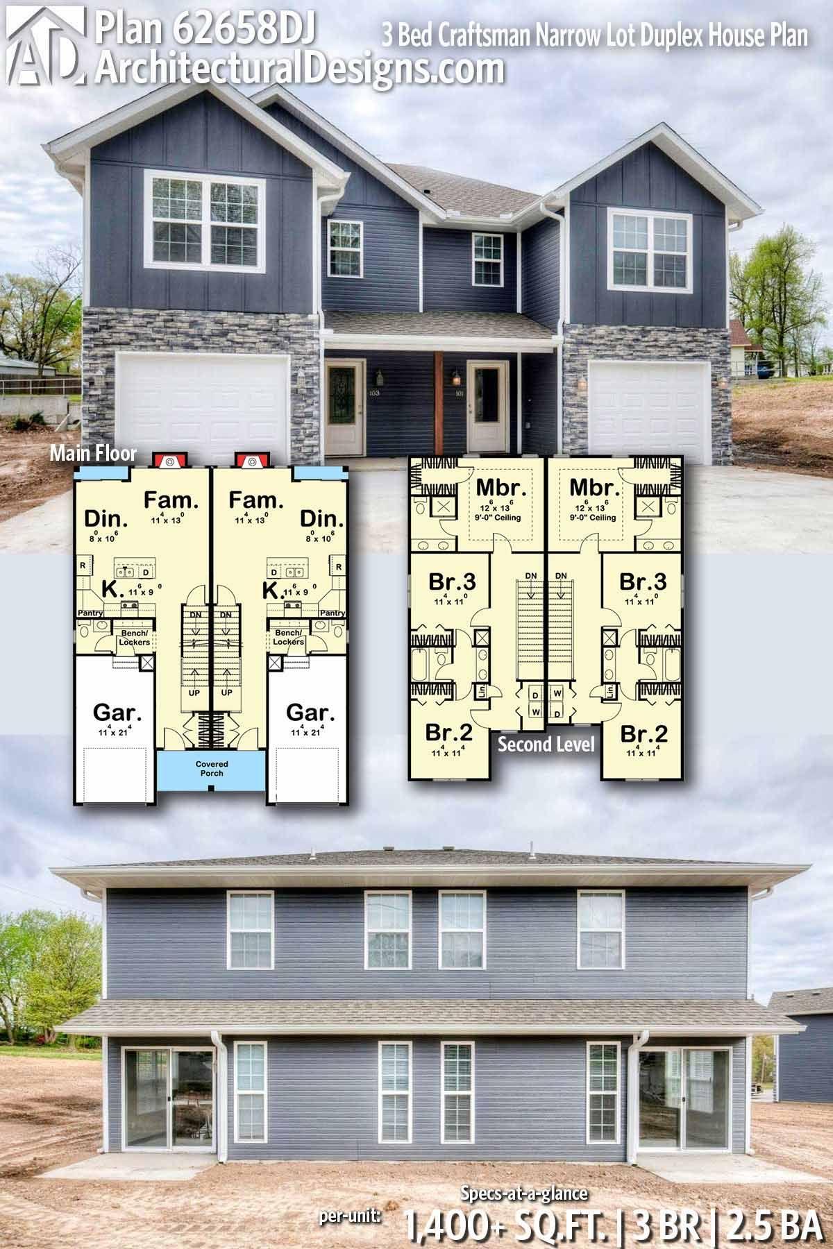 Plan 62658dj 3 Bed Craftsman Narrow Lot Duplex House Plan Family House Plans Duplex House Plans Duplex House