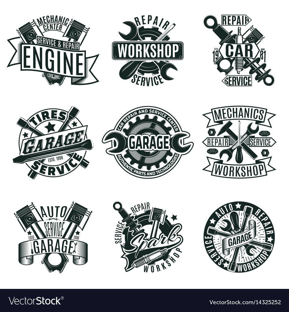 Monochrome Car Repair Service Logos Set Royalty Free Vector