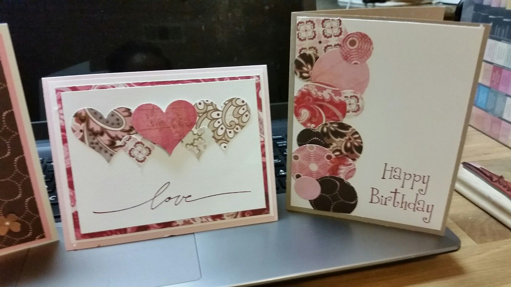 Designing with scrap and leftover designer paper. Stampin Up heart punch, Wonderful Words retired set, and a birthday retired set.
