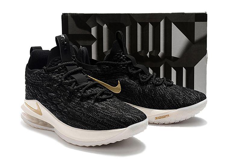 991a30ac98d0a5 2018 Nike LeBron 15 Low Black Metallic Gold-Phantom AO1755-001 For Sale
