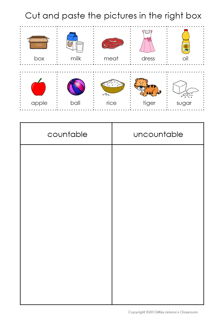 Countable And Uncountable Nouns Sorting Set Tpt Cut And Paste