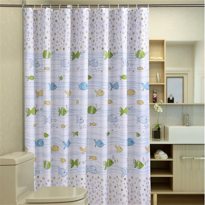 Bubble Fish Polyester Sea Shower Curtain Waterproof Fabric Anime Bathroom  Curtain With 12pcs Curtain Hooks Rings