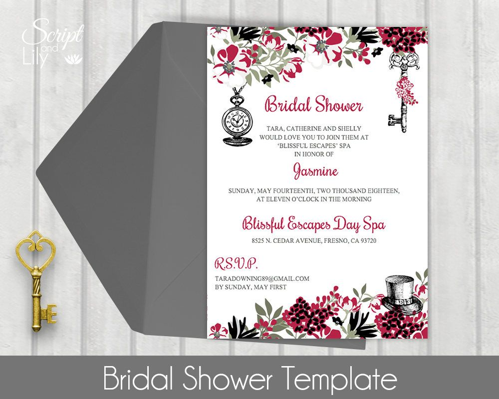 Bridal Shower Template | Alice in Wonderland | DIY | Instant ...