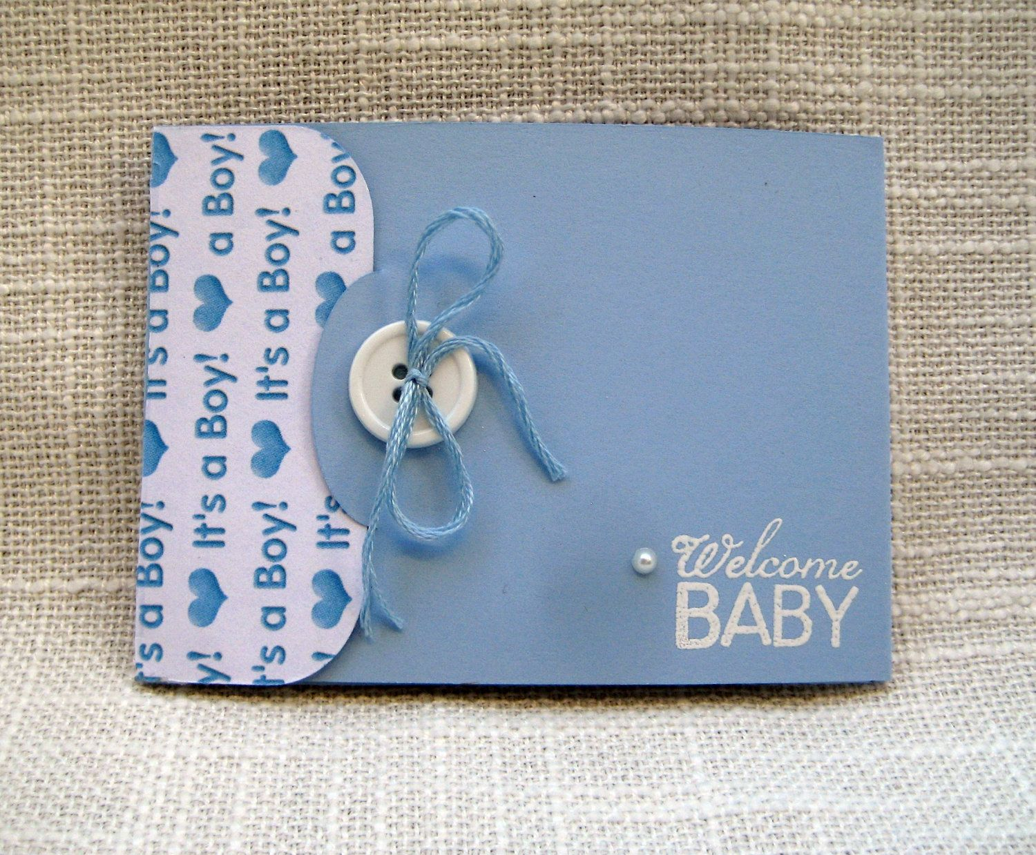 handmade baby boy gift card holder baby shower  blue  white, Baby shower invitation