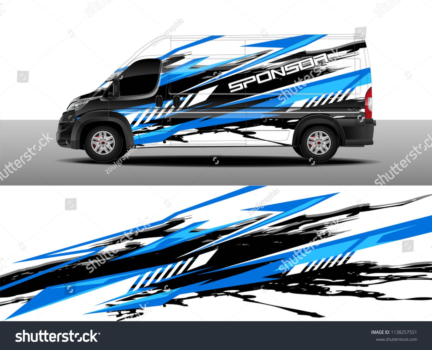 Cargo van decal designs truck and car wrap vector graphic abstract stripe designs for advertisement race adventure and livery car