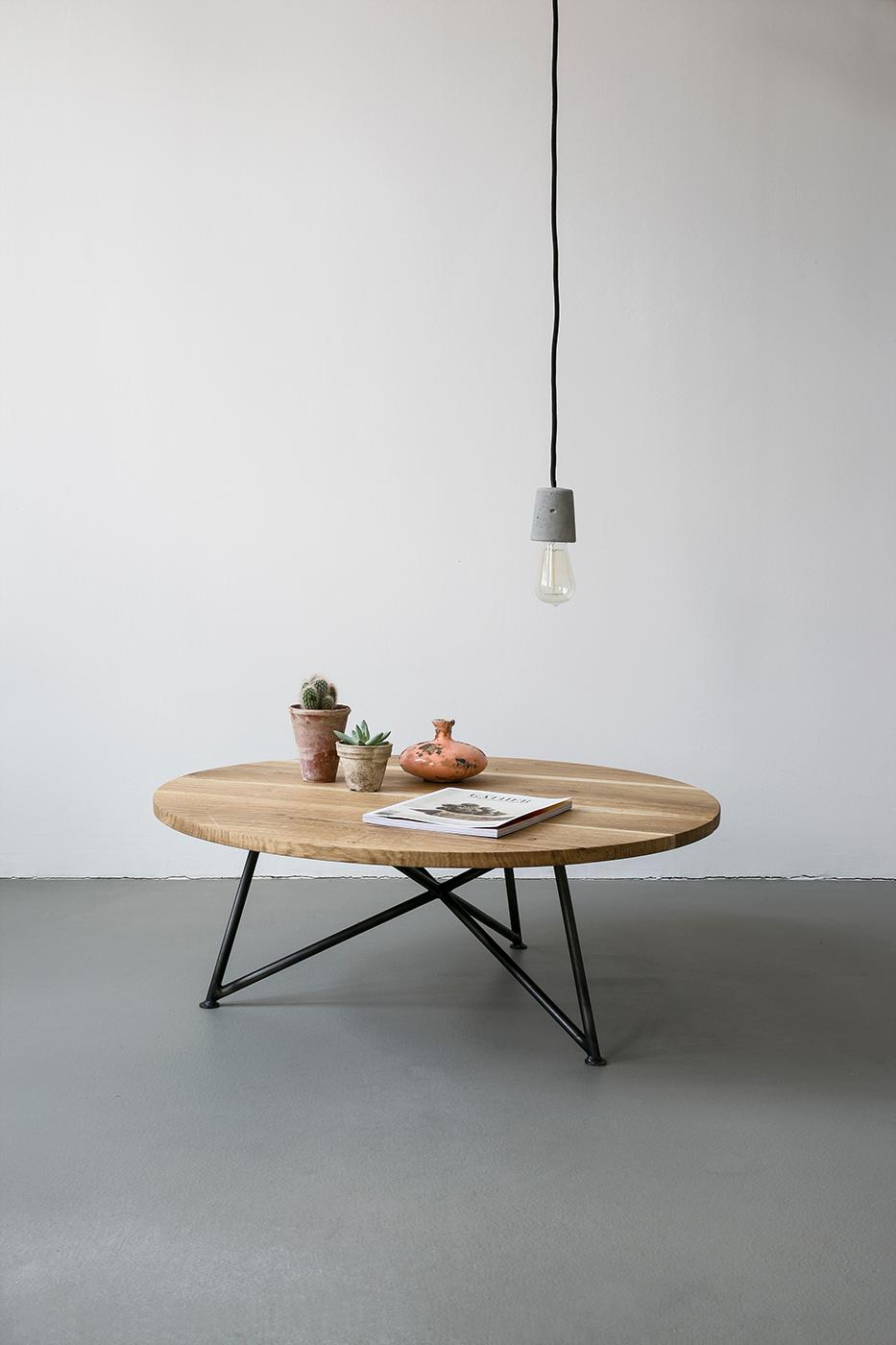 Oak Steel Sofa Table By Nutsandwoods Industrial Furniture Design