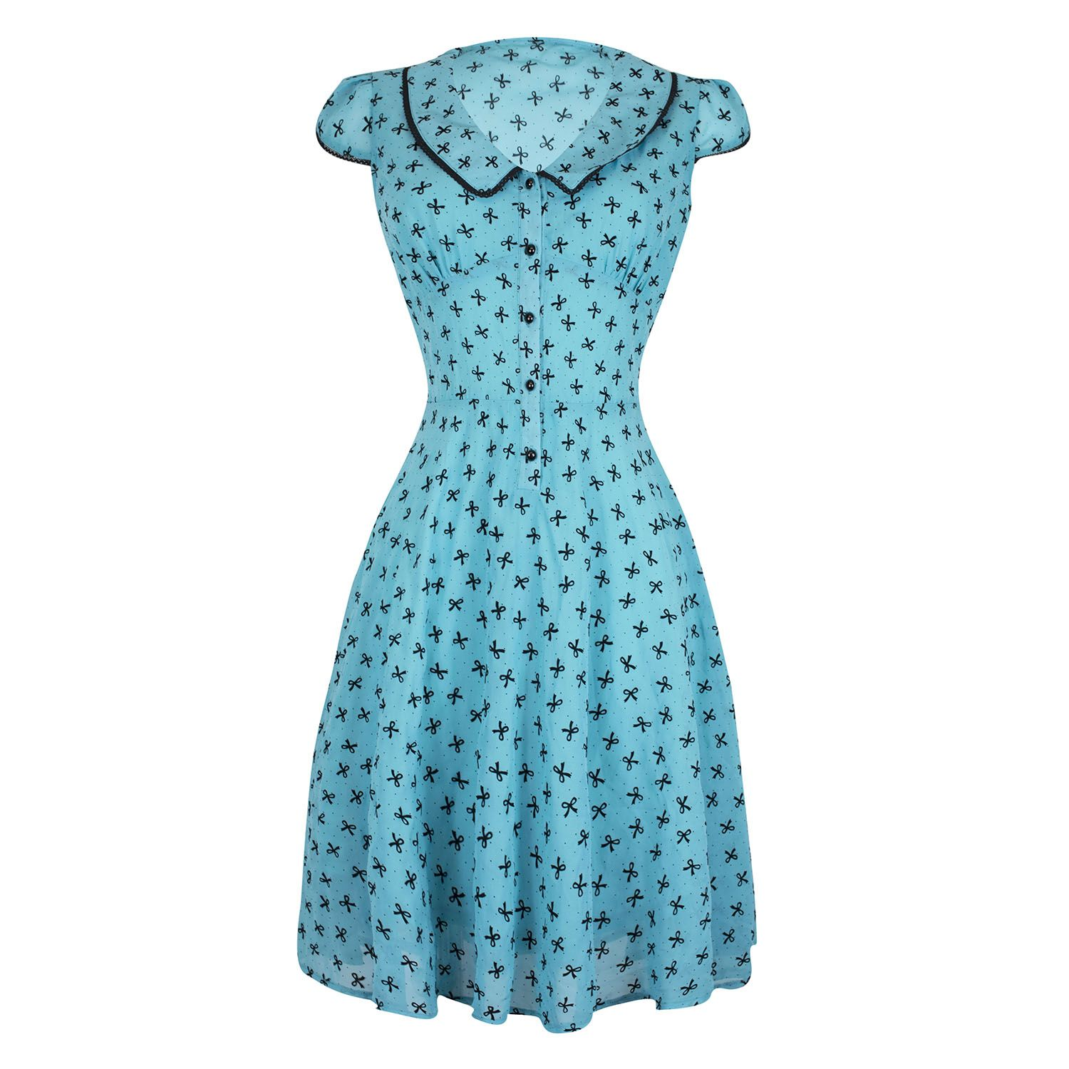 Voodoo Vixen Blue Kitsch Bow Print 40s 50s Fifties Party Prom Flared ...