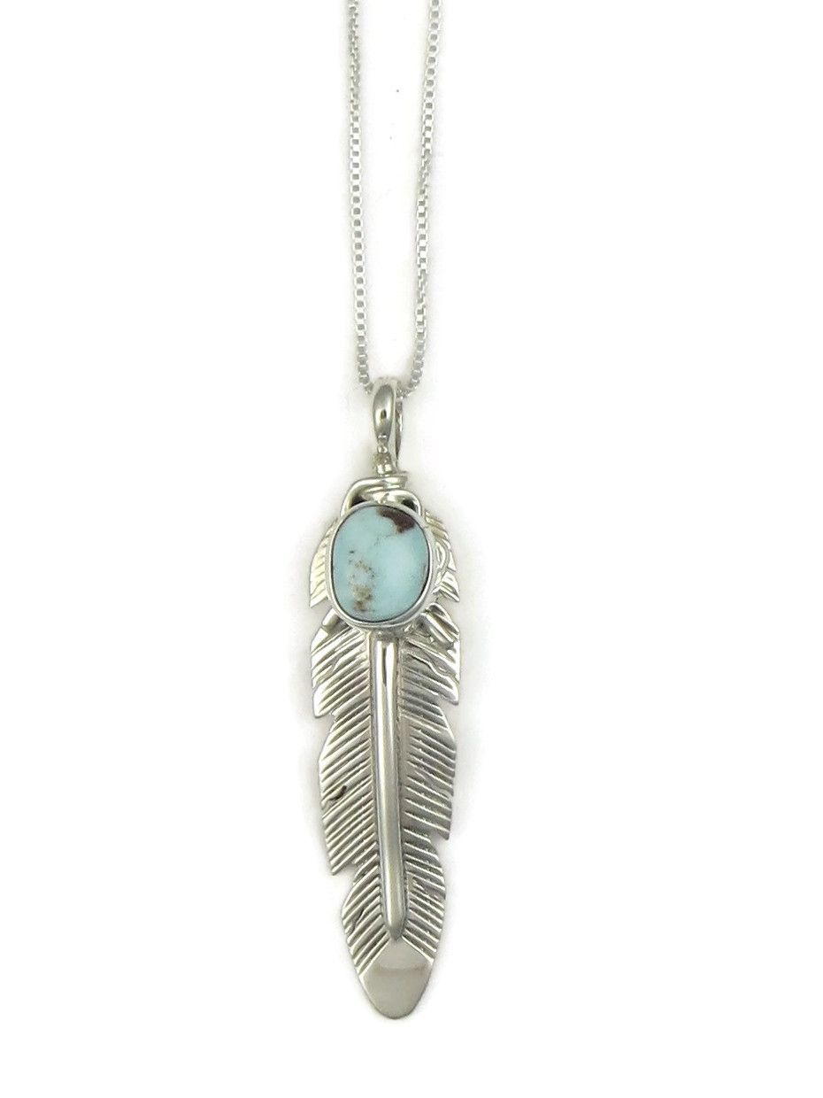Handmade Native American Navajo Sterling Silver Feather Pendant